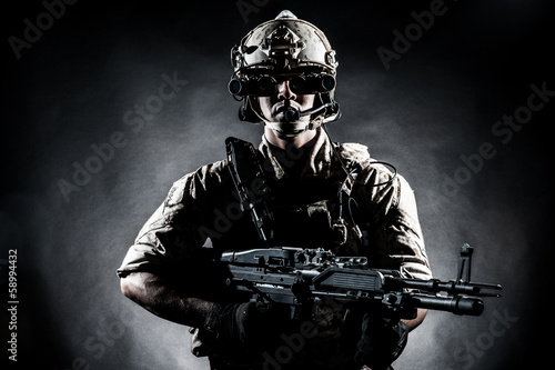 Poster soldier man hold Machine gun style fashion