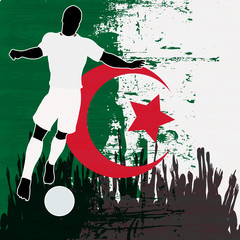 Football Algeria, Vector Soccer player over a grunged Algerian F