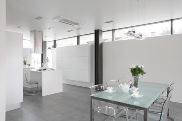 modern white kitchen with stylish furniture