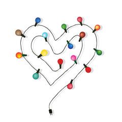 Heart love light bulb vector