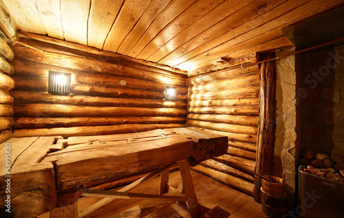 interior of russian wooden sauna