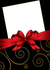 greeting card with bow and copy space