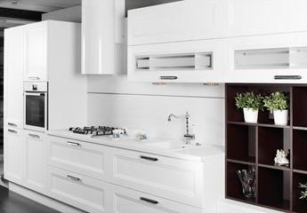 modern white kitchen with stylish furniture
