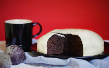 Chocolate beet ganache cake with marzipan icing