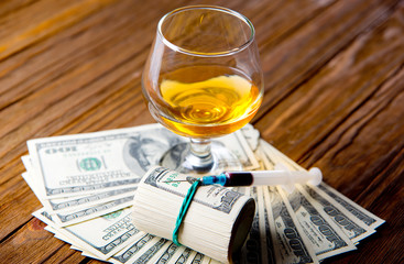 alcohol, drugs and money