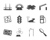 Silhouette Road, navigation and travel icons