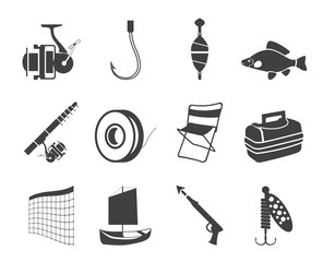 Silhouette Fishing and holiday icons - vector icon set