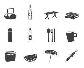 Silhouette Picnic and holiday icons - vector icon set