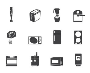 Silhouette Kitchen and home equipment icons - vector icon set
