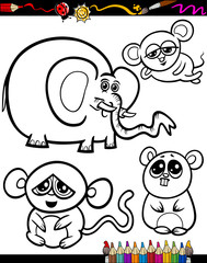 Cartoon Animals for Coloring Book
