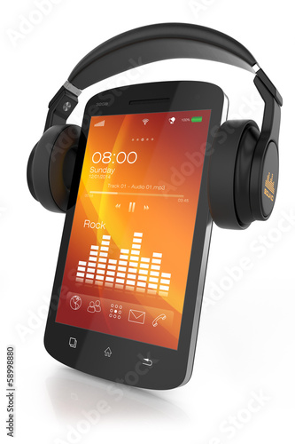 Modern headphones on musical smartphone
