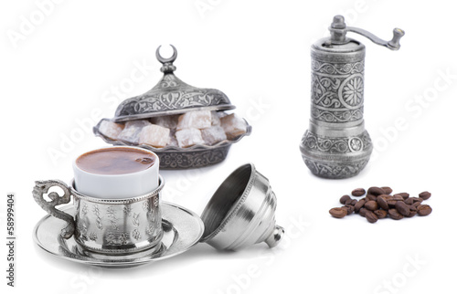 Turkish coffee with Turkish delight and coffee grinder