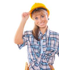 builder girl isolated on white