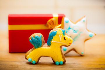 Gingerbread cake pony star decoration gift box. Christmas.