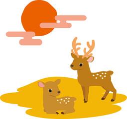 2頭の鹿と夕焼け