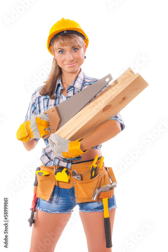 Halfl length portrait of happy female construction worker with h