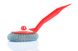 scrub brush with red handle isolated