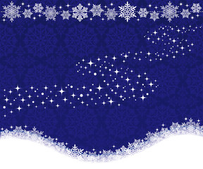 雪の結晶と天の川 ブルー背景