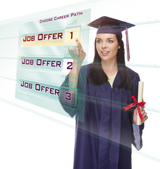 Young Female Graduate Choosing Job Button on Translucent Panel
