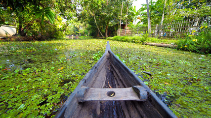 Canoe at kerala backwaters, india
