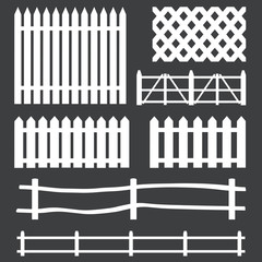 vector set of white rural fences silhouettes