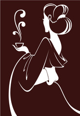 tea ceremony,  japanese girl silhouette for your menu
