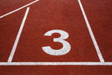 Running track with number 3, abstract background
