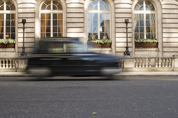 Taxi in motion in London