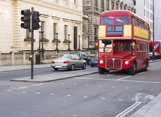 Red vintage bus in London.