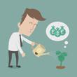 Business man watering money tree