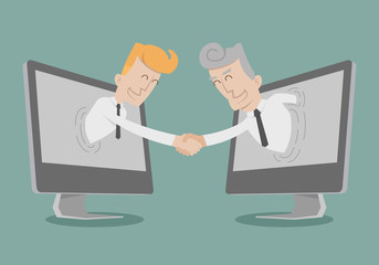 Businessman shake hand , Online Business , Online Marketing