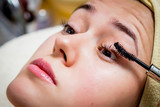 Cosmetologist doing facial mask to face of woman poster