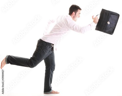 Businessman running with a briefcase isolated