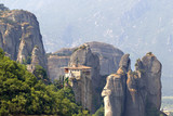 Ancient monastery construction on high hill at Meteora, Greece