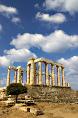 Temple of Poseidon at Cape Sounion,  Attica, Greece