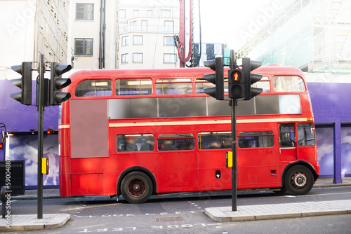 Poster Red vintage bus in London.