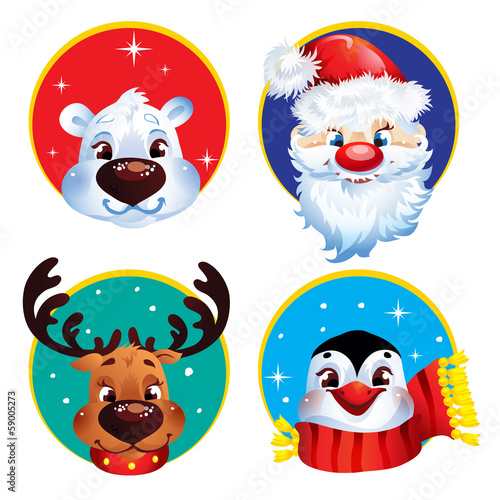 Christmas characters.Santa, reindeer, penguin and polar bear