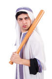 Aggressive arab man with baseball bat on white