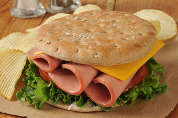 Baloney sandwich on thin round sandwich bread