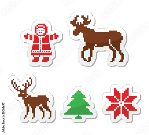 Christmas winter pixelated vector icons set