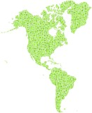 Map of America Continent in a mosaic of green squares