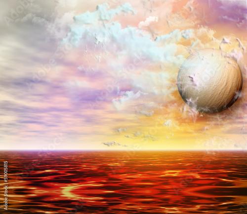 Plakat Sunset over the lagoon