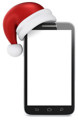 Blank smartphone with Santa Claus hat. Copy Space.