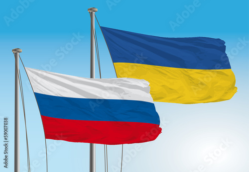 russia and ukraina flags