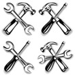 hammer and screwdriver and wrench set icon. vector