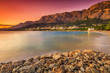 The famous Croatian riviera at sunset,Makarska,Dalmatia,Croatia