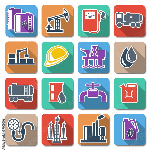 Vector Oil Industry Flat Icons