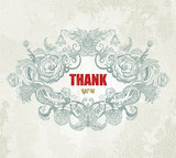 Vintage Card - Thank You. Vector illustration, EPS10