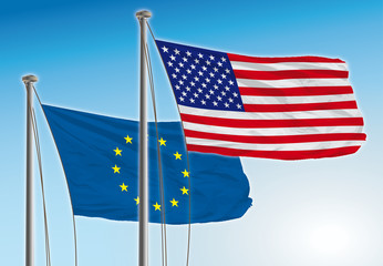 usa and europe flags