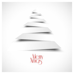 vectorial christmas tree, flat design white